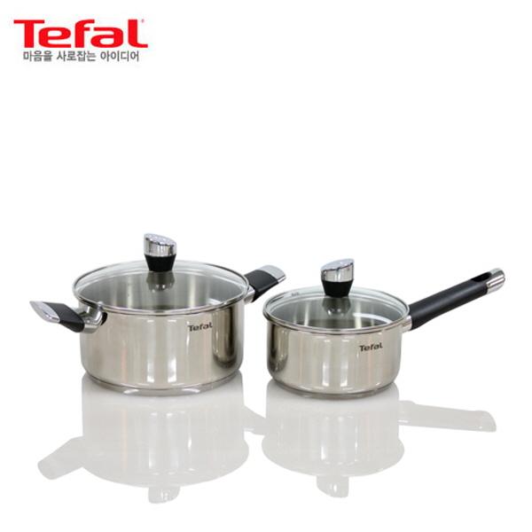 [테팔] 스텐 에모티온 냄비 2종 세트 편수냄비16cm, 양수냄비 20cm TFC-EMS6P0